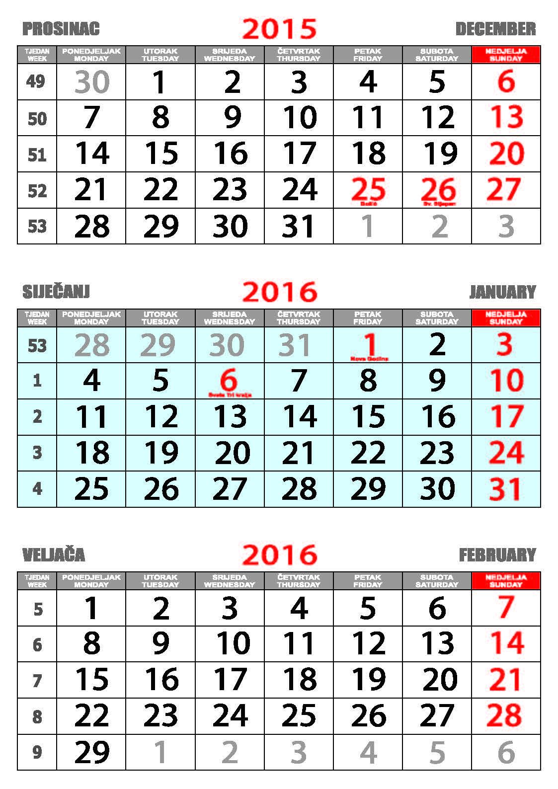 Nekategorizirano Tisak na kalendare Trodijelni poslovni kalendar