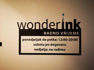 Naljepnica radno vrijeme - Wonder ink