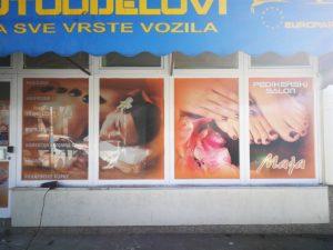 Oslikavanje izloga - pedikerski salon