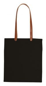 Cotton shopping bag with long PU leather handles. 100pamuk ,200 gr., 37x41