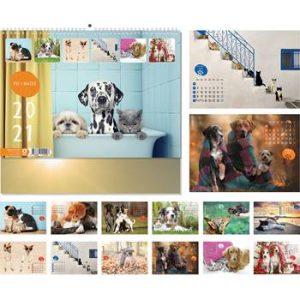 Kalendar PSI I MAČKE 13lisni 34x24+7 cm sa spiralom