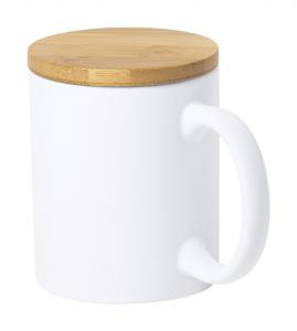 Ceramic mug in matt finish with bamboo lid, 370 ml. In kraft paper box.