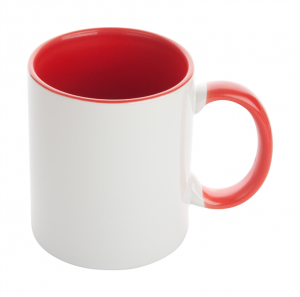Ceramic sublimation mug with coloured inside and matching colour handle, in gift box. 350 ml.